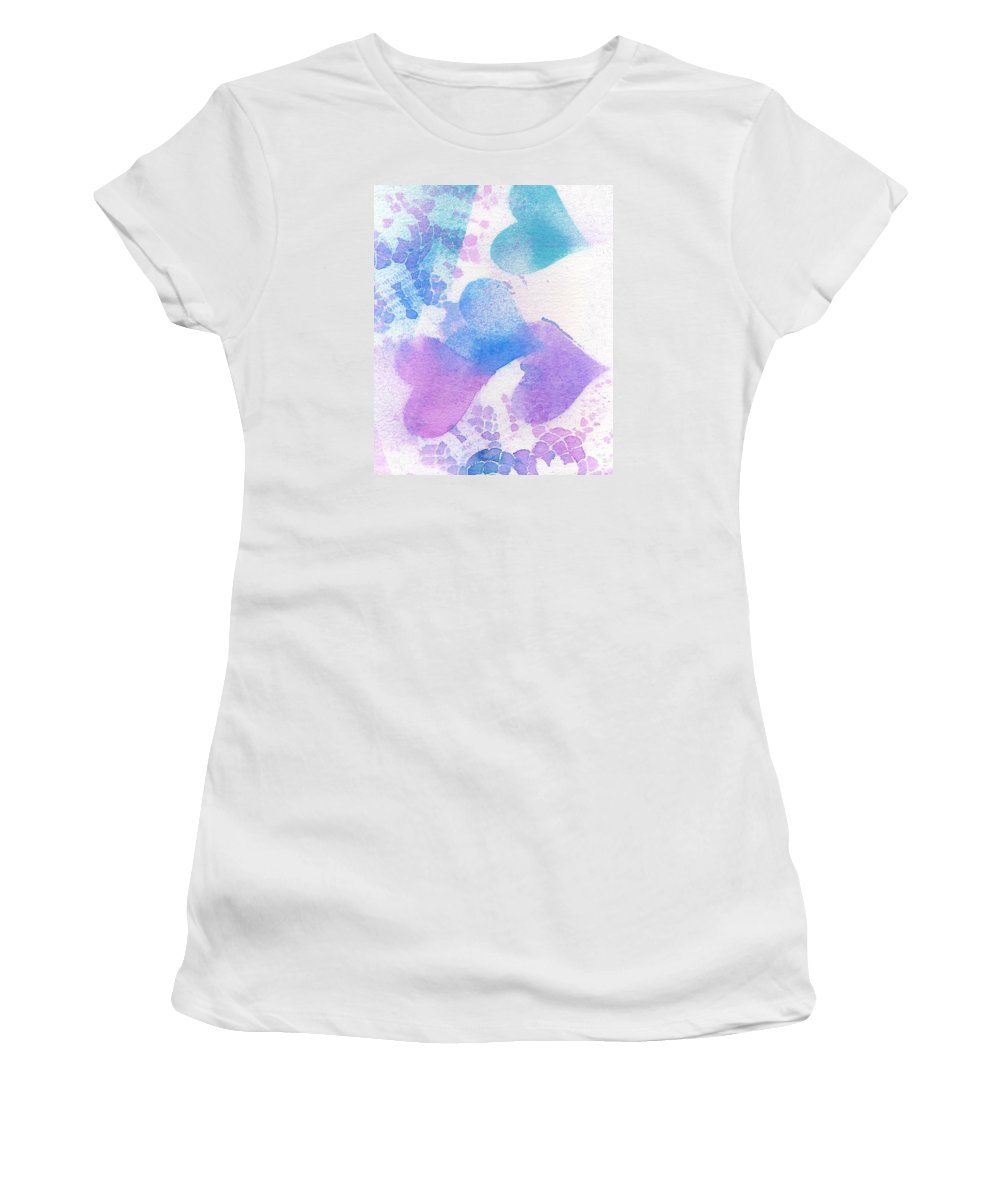 Hearts Women's T-Shirt (Athletic Fit) featuring the mixed media A Lace Of Hearts. by Wendy Le Ber