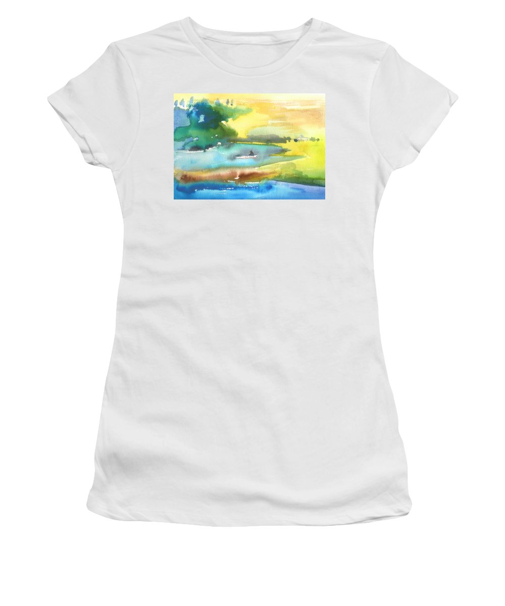 Travel Women's T-Shirt (Athletic Fit) featuring the painting A Lagoon In Spain by Miki De Goodaboom