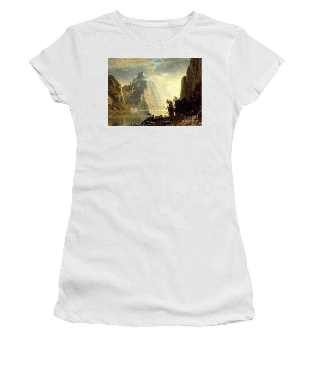 Albert Bierstadt Women's T-Shirt (Athletic Fit) featuring the painting A Lake In The Sierra Nevada by Albert Bierstadt