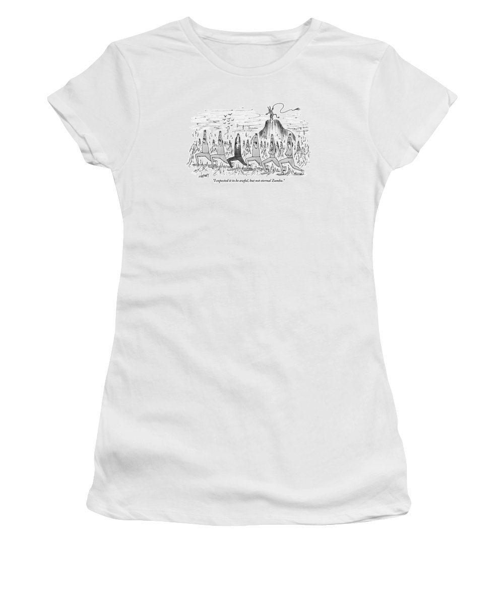 Hell Women's T-Shirt featuring the drawing A Large Crowd Of People Are Doing Zumba In Hell by Tom Cheney