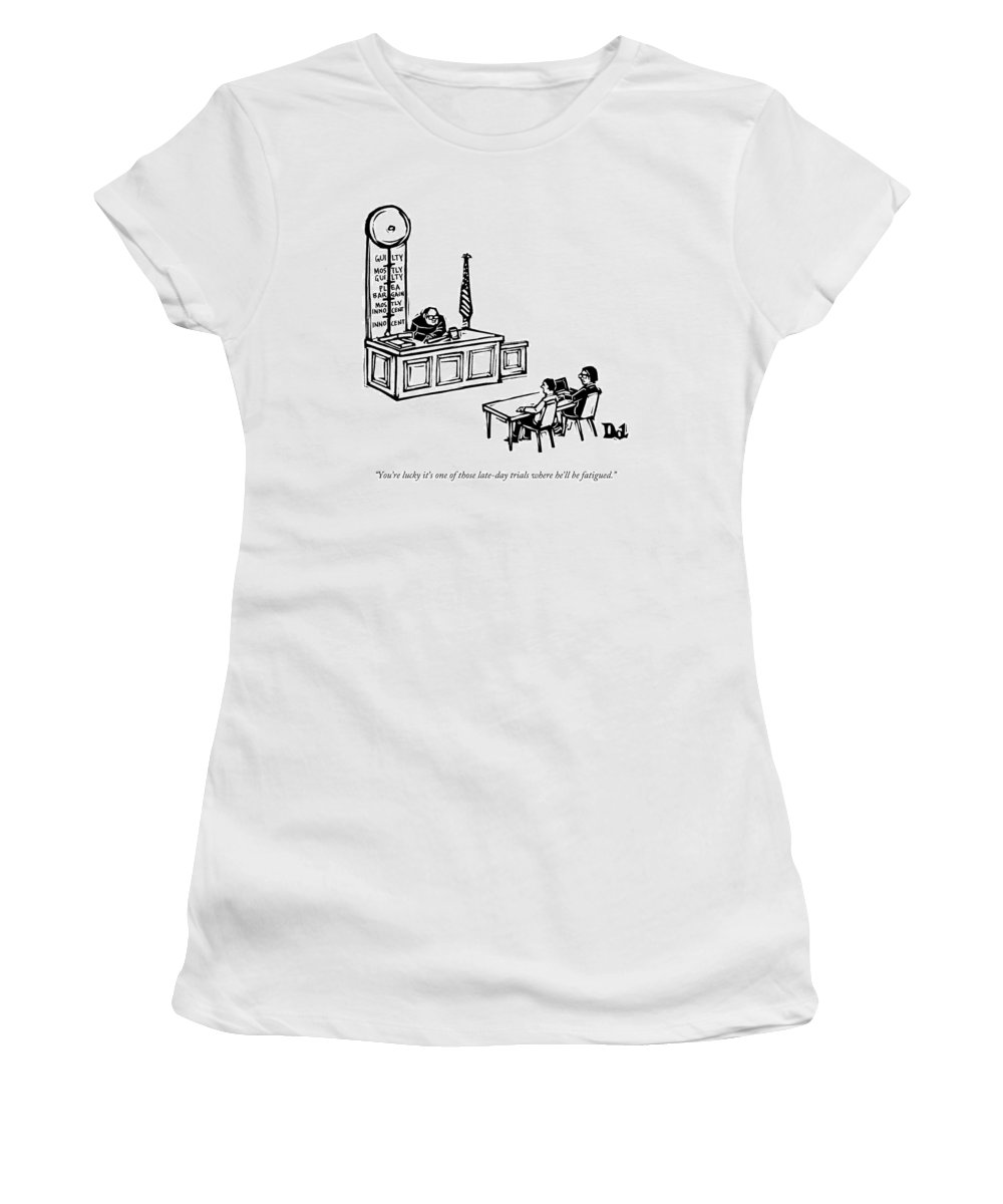 Decision Fatigue Women's T-Shirt featuring the drawing A Lawyer Says To Her Client by Drew Dernavich