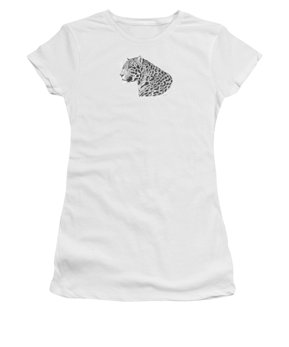 Leopard Women's T-Shirt featuring the drawing A Leopard's Watchful Eye by Patricia Hiltz