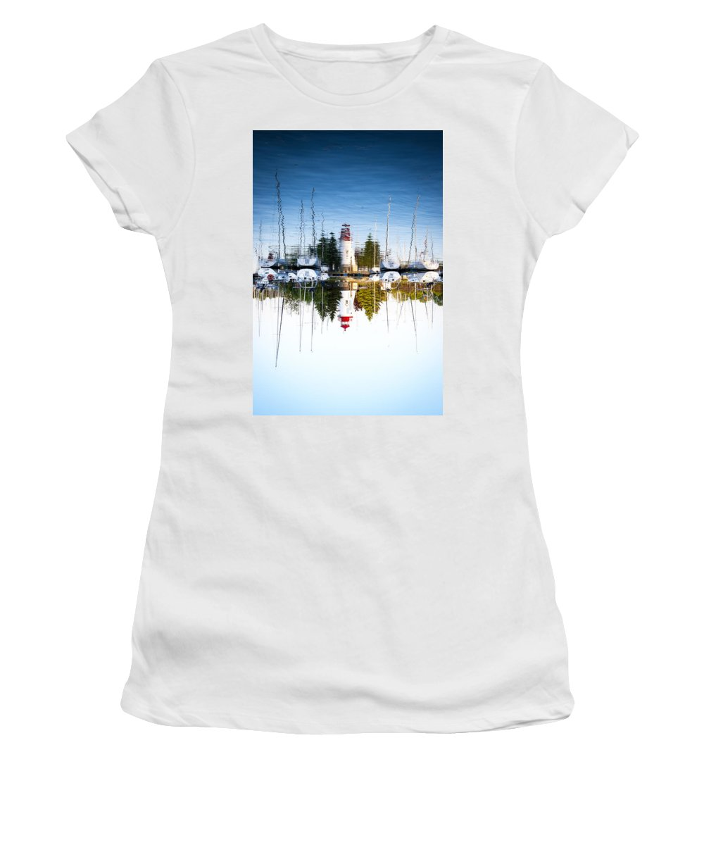 Marina Women's T-Shirt (Athletic Fit) featuring the photograph A Lighthouse by Les Lorek