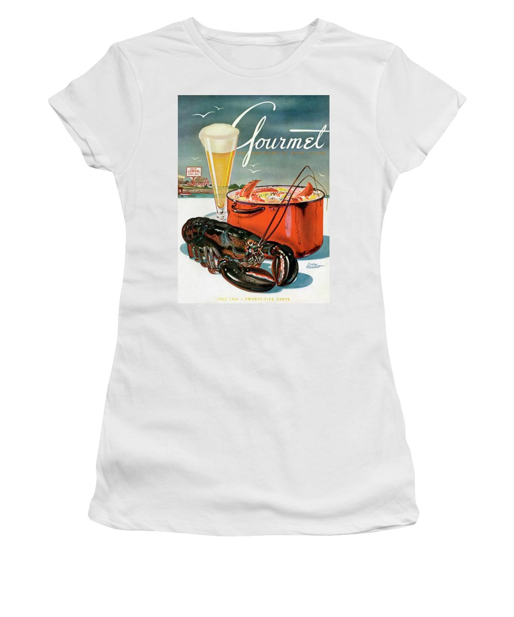 Illustration Women's T-Shirt featuring the photograph A Lobster And A Lobster Pot With Beer by Henry Stahlhut