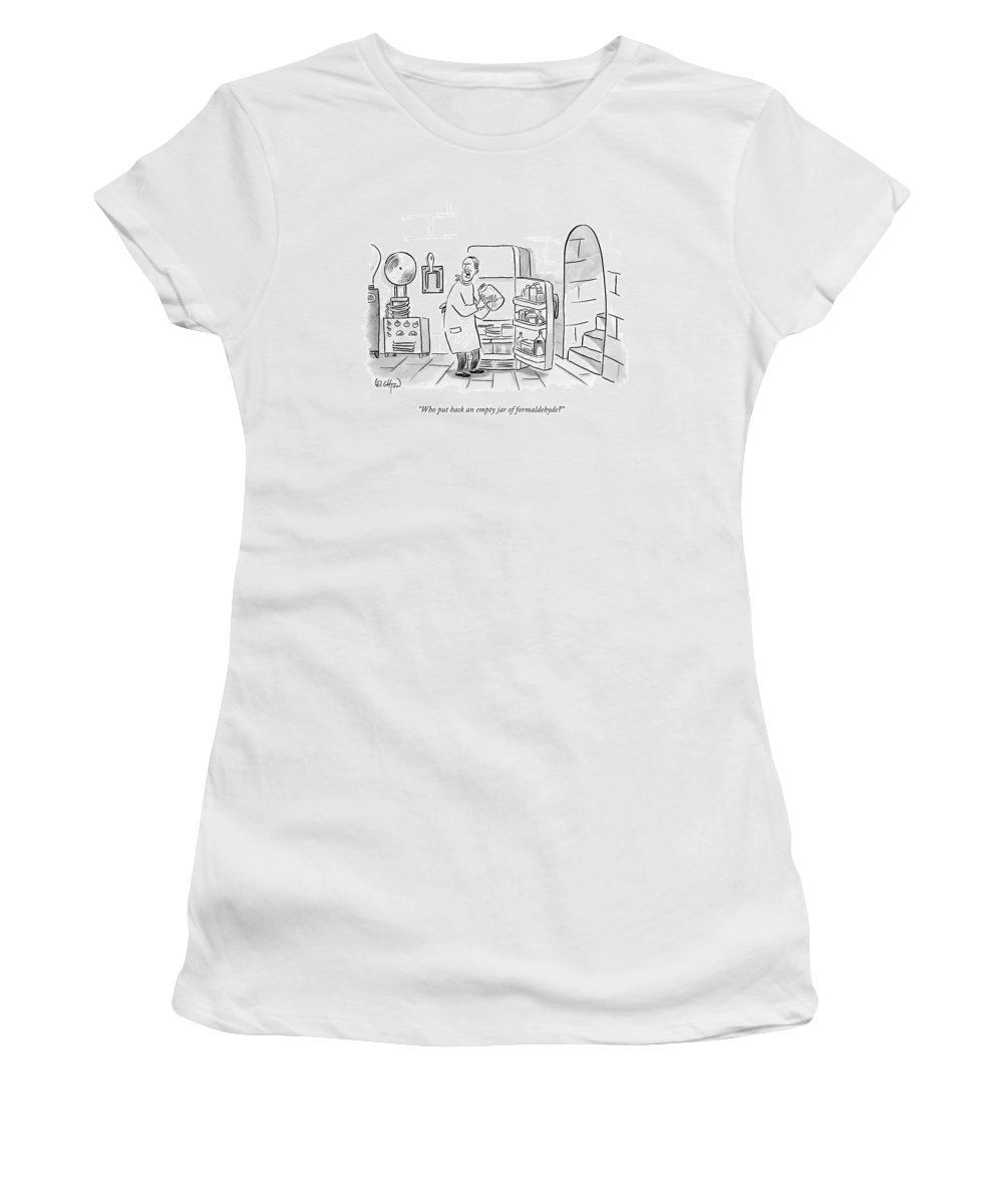 Frankenstein Women's T-Shirt featuring the drawing A Mad Scientist Removes A Jar From The Laboratory by Robert Leighton