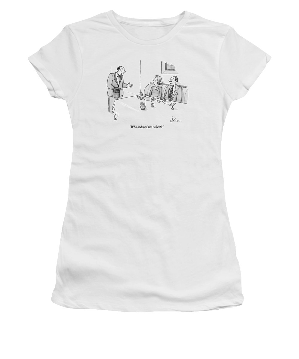 Magicians Women's T-Shirt featuring the drawing A Magician Is Seen Speaking To Two People Seated by Leo Cullum