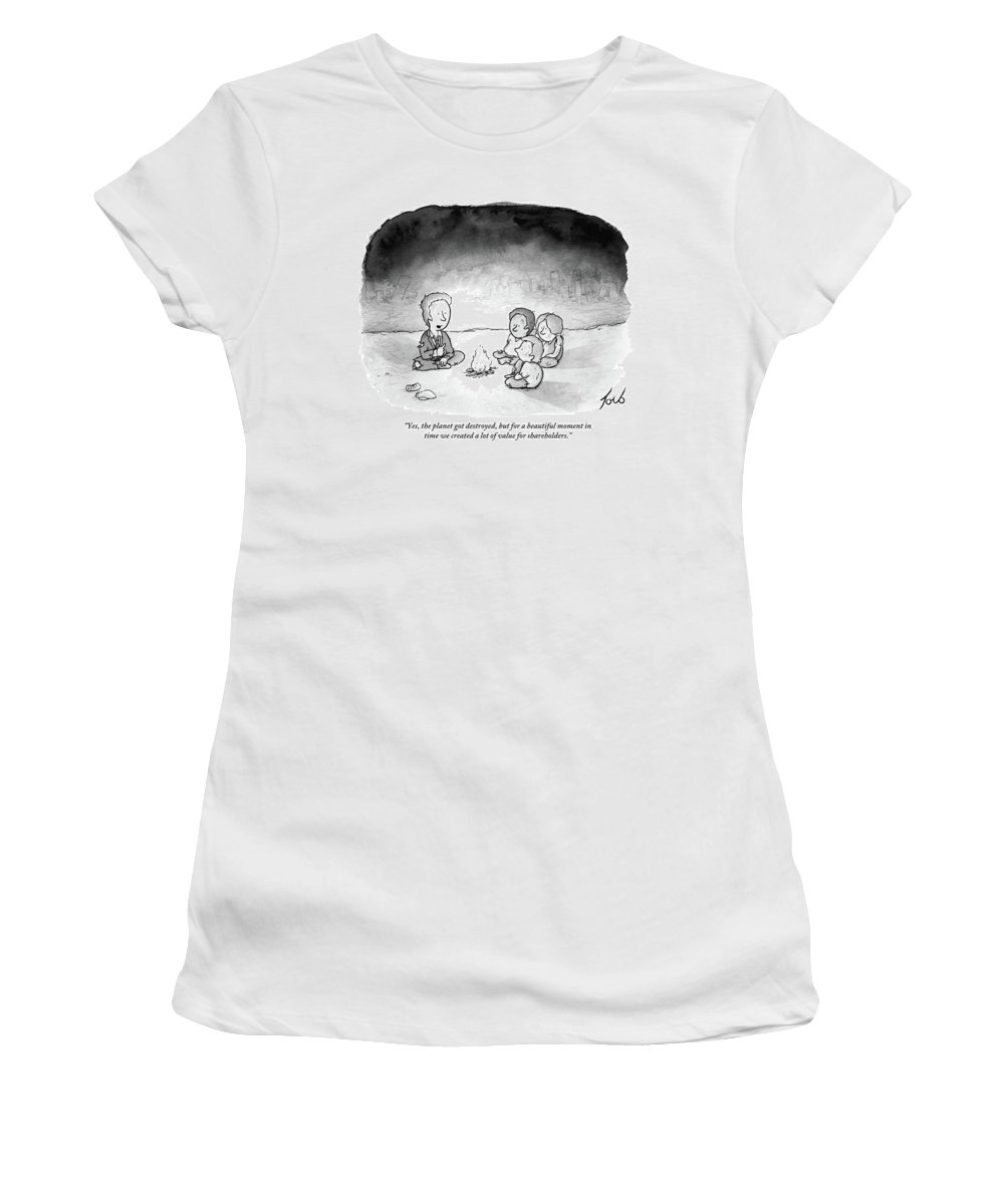 Armageddon Women's T-Shirt (Athletic Fit) featuring the drawing A Man And 3 Children Sit Around A Fire by Tom Toro