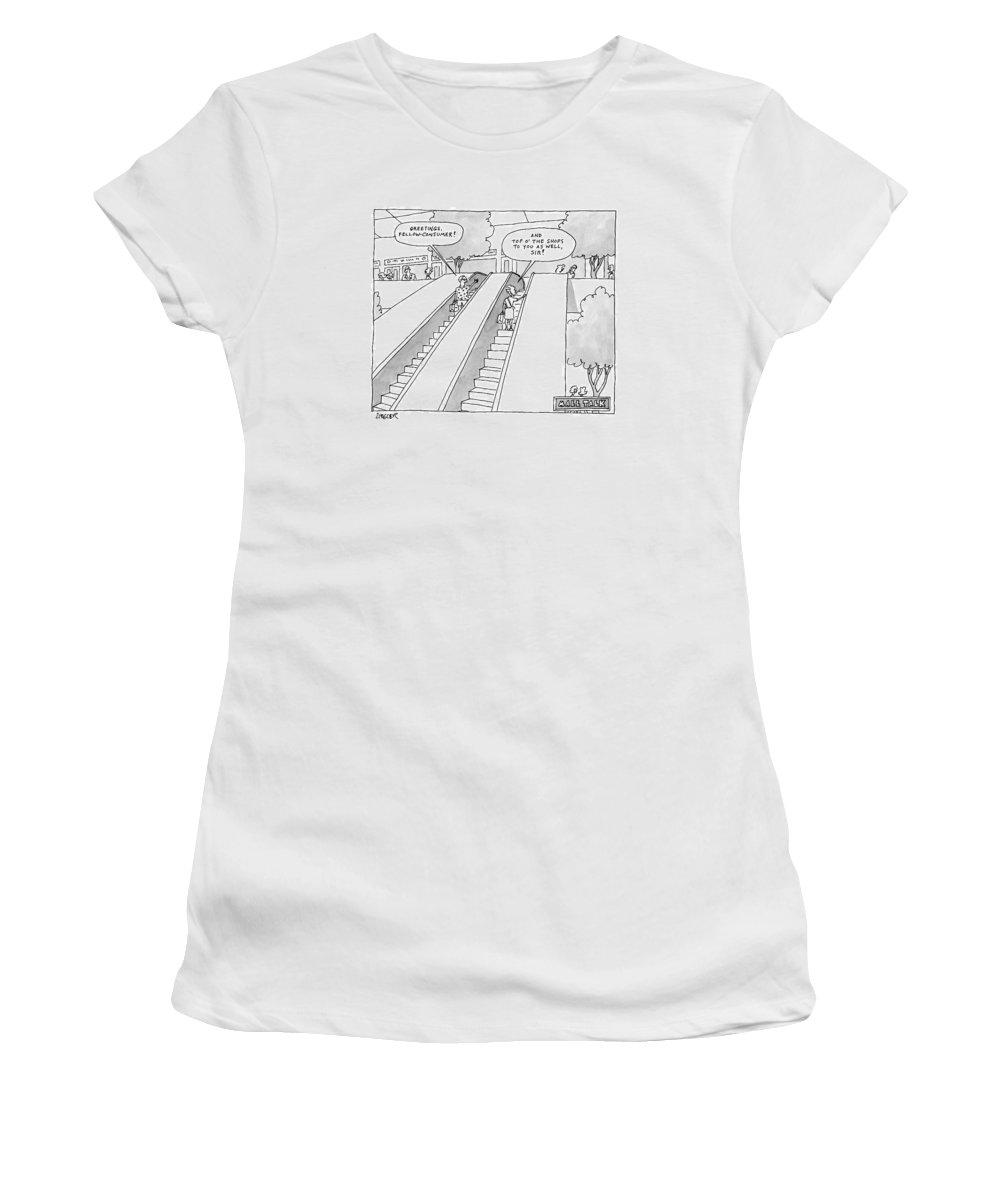 Escalators Women's T-Shirt featuring the drawing A Man And A Woman On Adjacent Escalators Greet by Jack Ziegler