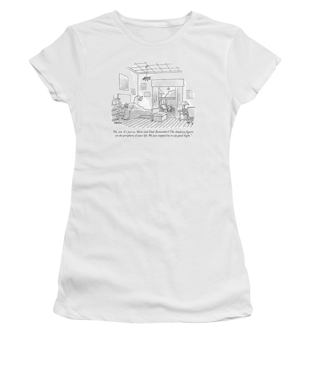 Parenting Women's T-Shirt featuring the drawing A Man And Woman On A Ladder Outside A Boy's by Jack Ziegler
