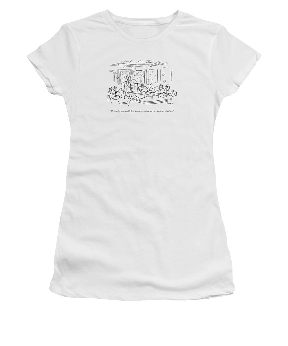 #condenastnewyorkercartoon Women's T-Shirt featuring the drawing A Man Blow Bubbles At A Meeting by Frank Modell