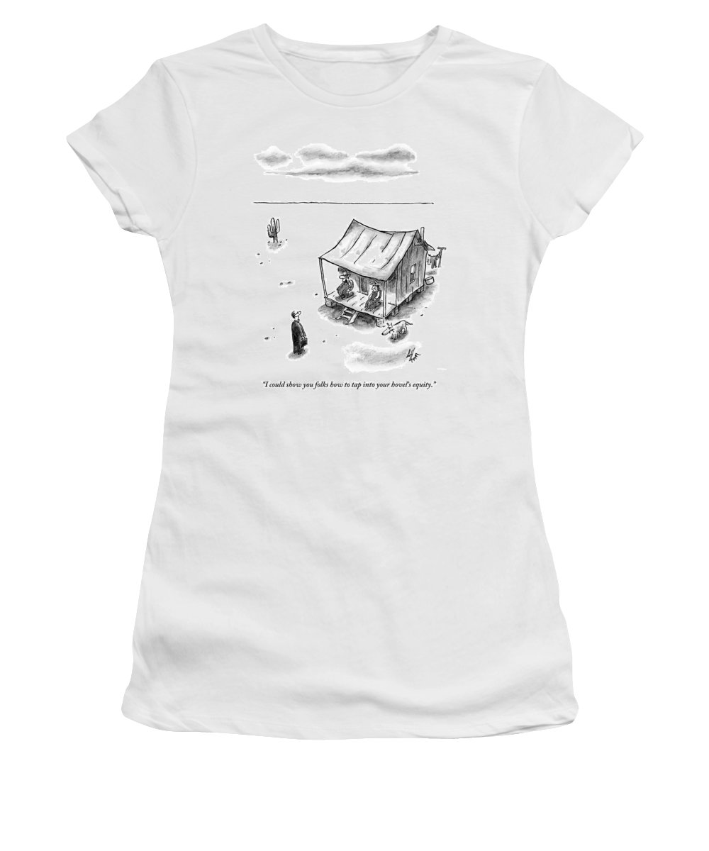 Equity Women's T-Shirt featuring the drawing A Man In A Suit With A Briefcase Approaches by Frank Cotham