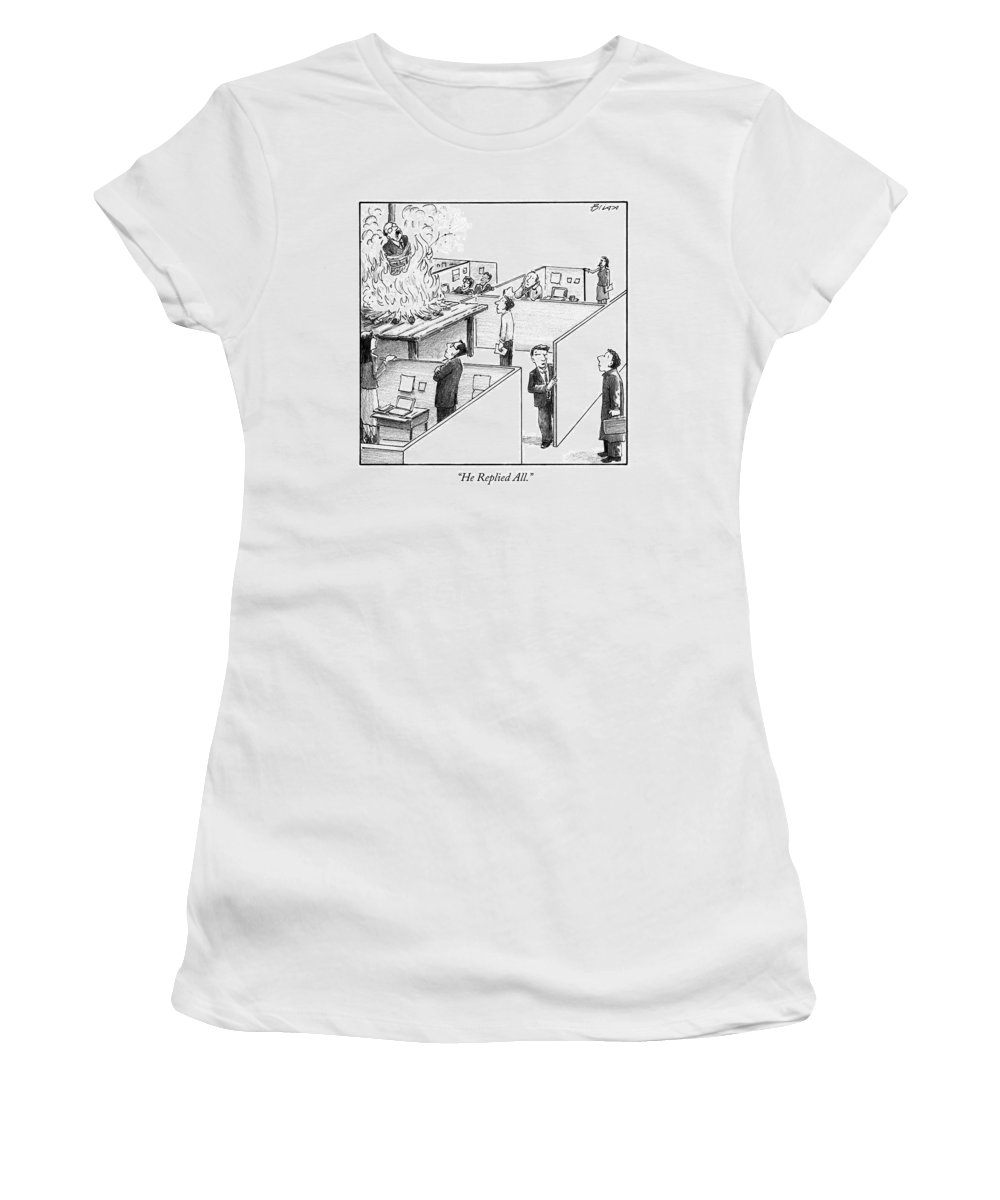 Office Women's T-Shirt featuring the drawing A Man Is Burned At The Stake In The Middle Of An by Harry Bliss