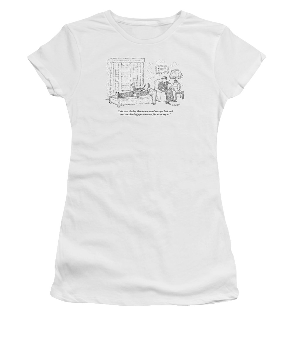 Psychiatrist Women's T-Shirt featuring the drawing A Man Is Laying On The Psychiatrist's Couch by Robert Mankoff