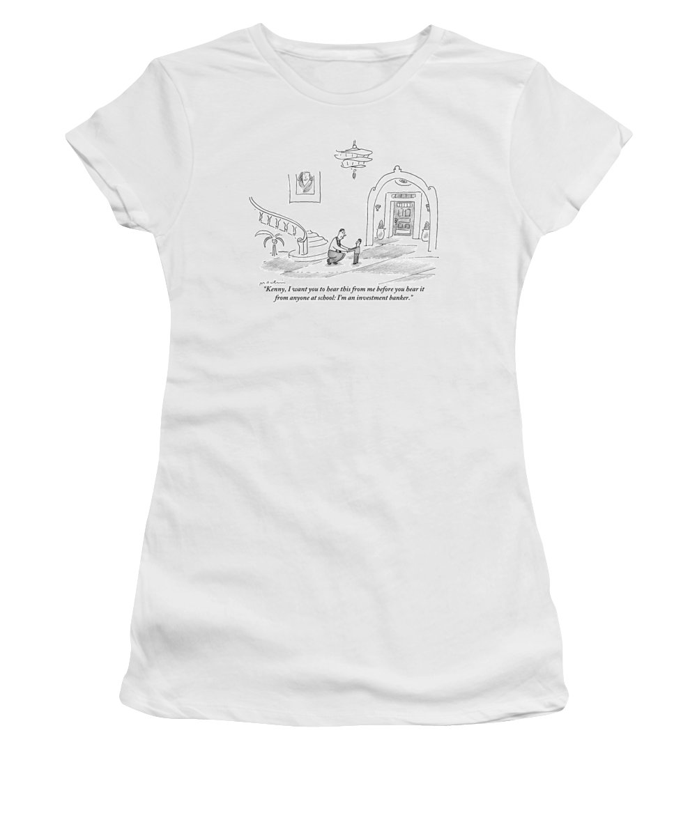 Fathers Women's T-Shirt featuring the drawing A Man Is Seen Crouched Over Speaking To His Son by Michael Maslin