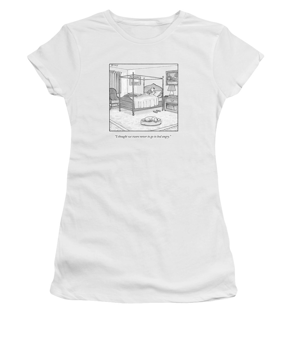 Dogs Women's T-Shirt featuring the drawing A Man Lies In Bed by Harry Bliss