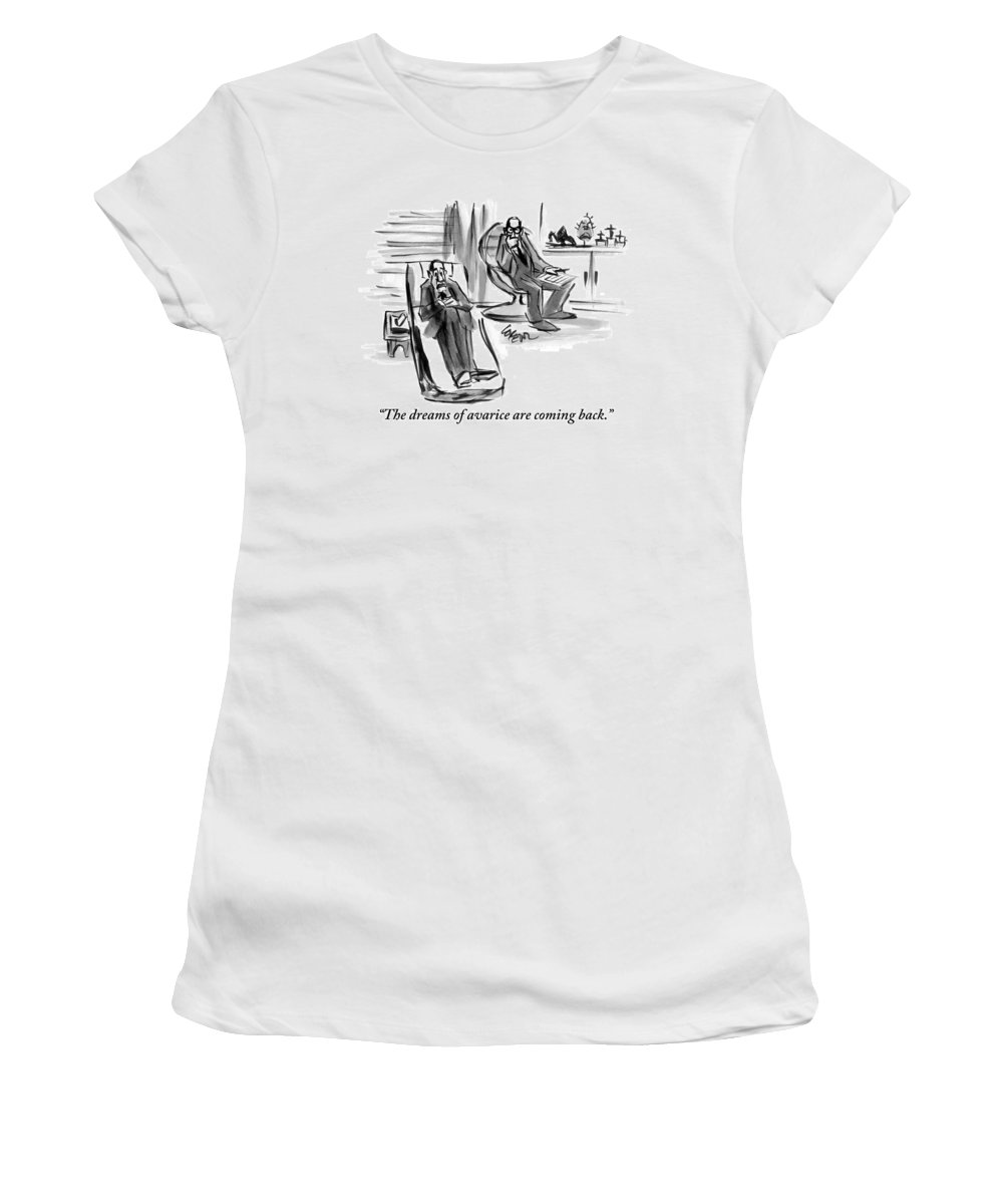 Avarice Women's T-Shirt featuring the drawing A Man On A Couch Speaks To His Therapist by Lee Lorenz