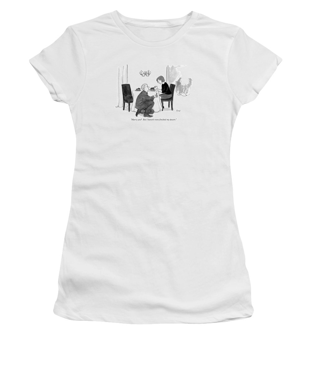Marriage Women's T-Shirt featuring the drawing A Man Proposes To A Woman In A Restaurant by Carolita Johnson