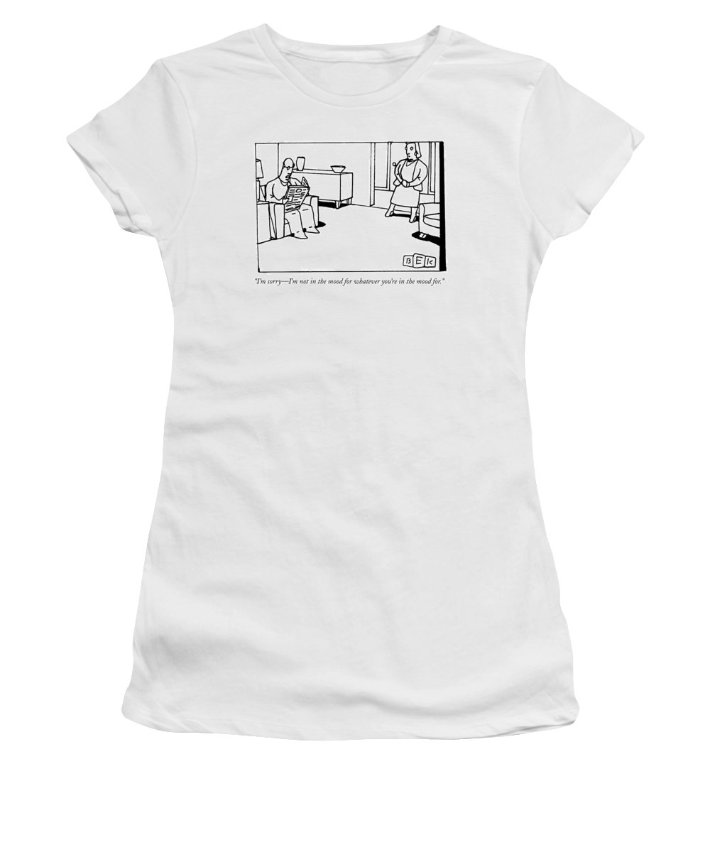 Marriages Women's T-Shirt featuring the drawing A Man Reading The Newspaper In His Living Room by Bruce Eric Kaplan