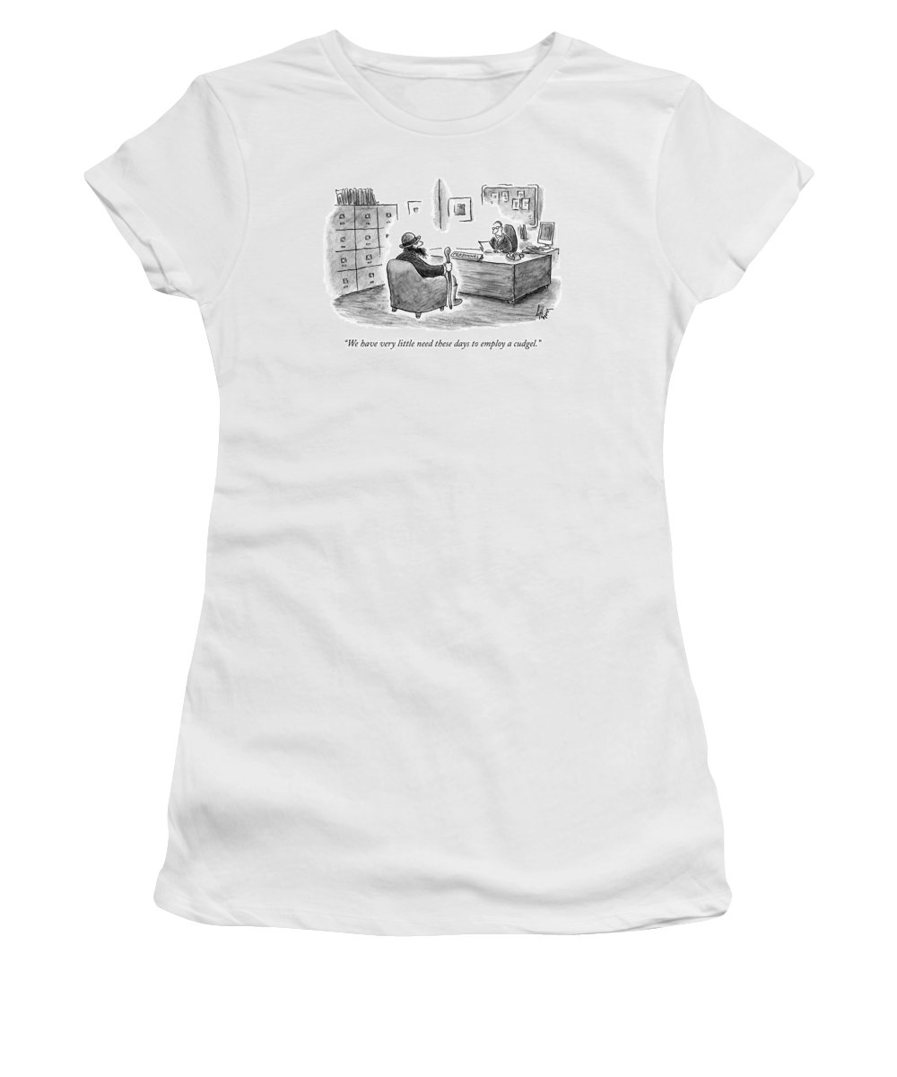 Job Interview Women's T-Shirt featuring the drawing A Man Sits Across From A Personnel Desk by Frank Cotham
