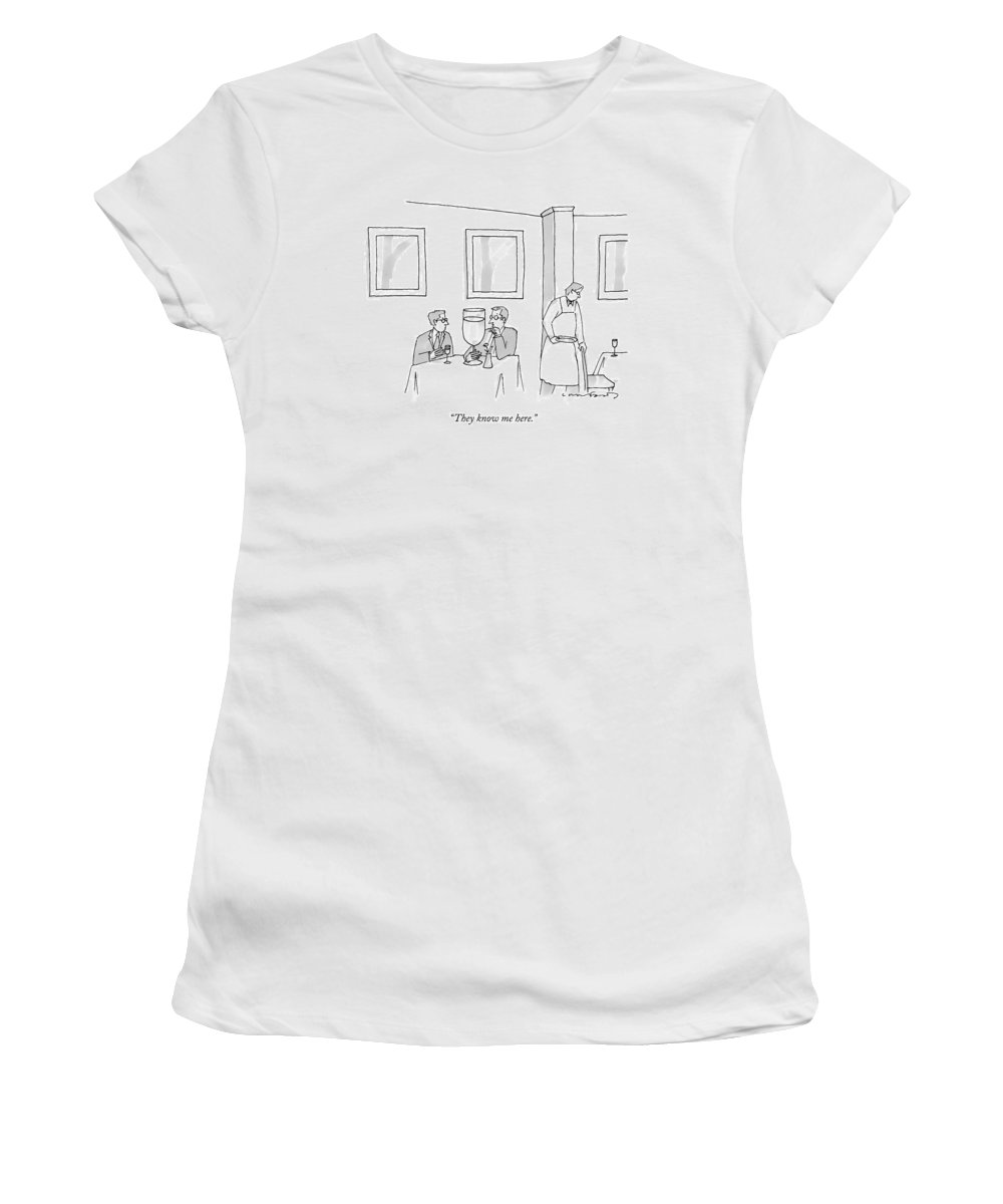 Alcohol Women's T-Shirt featuring the drawing A Man Sits At A Restaurant Table With An Enormous by Michael Crawford