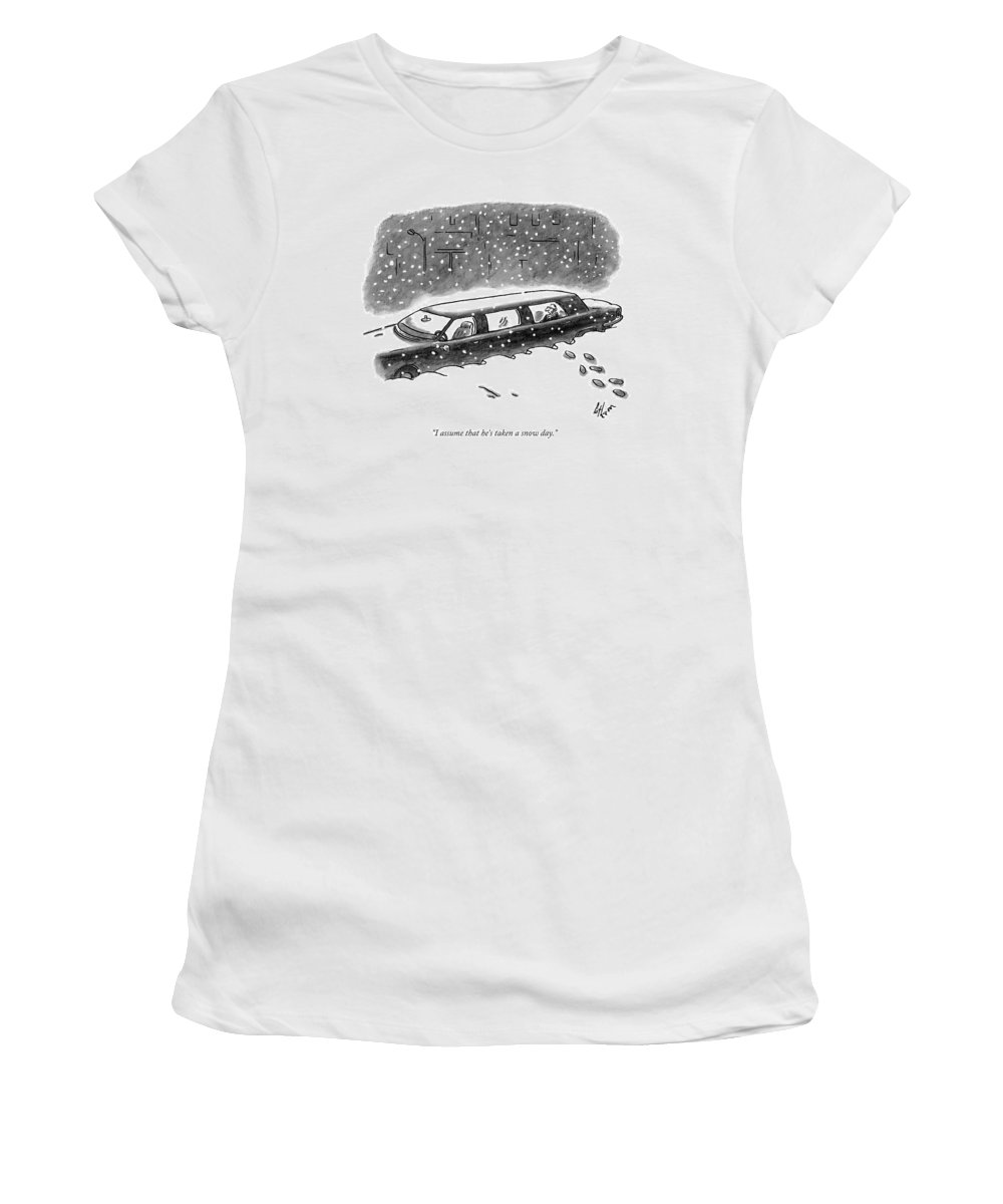 Limo Women's T-Shirt featuring the drawing A Man Sits In The Backseat Of A Driverless by Frank Cotham