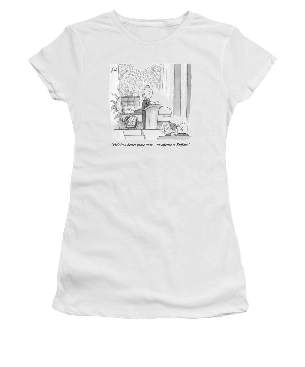 Buffalo Women's T-Shirt featuring the drawing A Man Speaking At A Funeral by Tom Toro