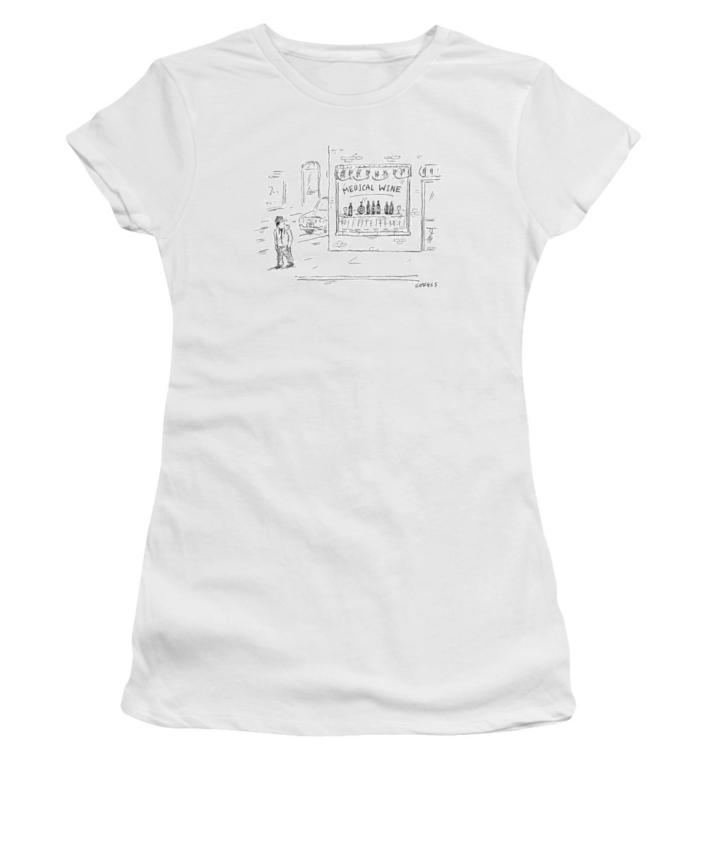 Captionless Medical Marijuana Women's T-Shirt featuring the drawing A Man Walks By A Liquor Store With The Sign by David Sipress