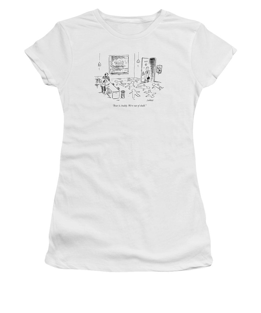 Crime Women's T-Shirt featuring the drawing A Man Walks Into A Seedy Bar Where by David Sipress