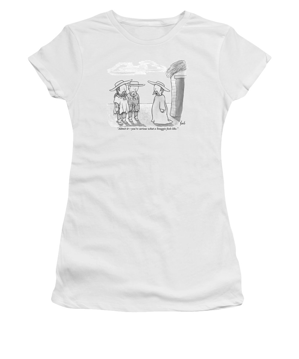 Ponchos Women's T-Shirt featuring the drawing A Man Wearing A Snuggie Speaks To Two Men Wearing by Tom Toro