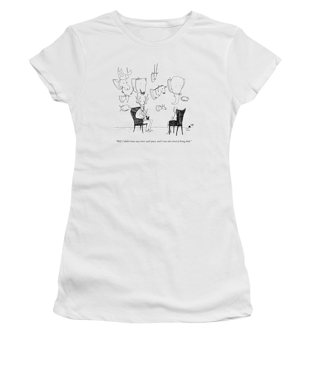 A Man With A Wall Full Of Taxidermy Has Antlers Women's T-Shirt for Sale by  Liana Finck
