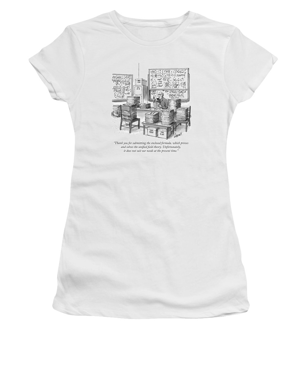 Math Women's T-Shirt featuring the drawing A Mathematician In A Room Full Of Stacked Papers by Tom Cheney