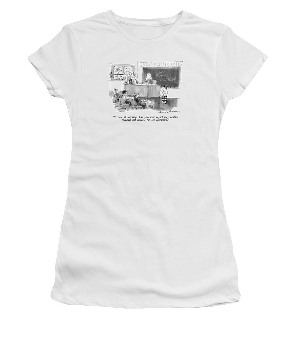 Children Women's T-Shirt (Athletic Fit) featuring the drawing A Note Of Warning: The Following Report by Bernard Schoenbaum