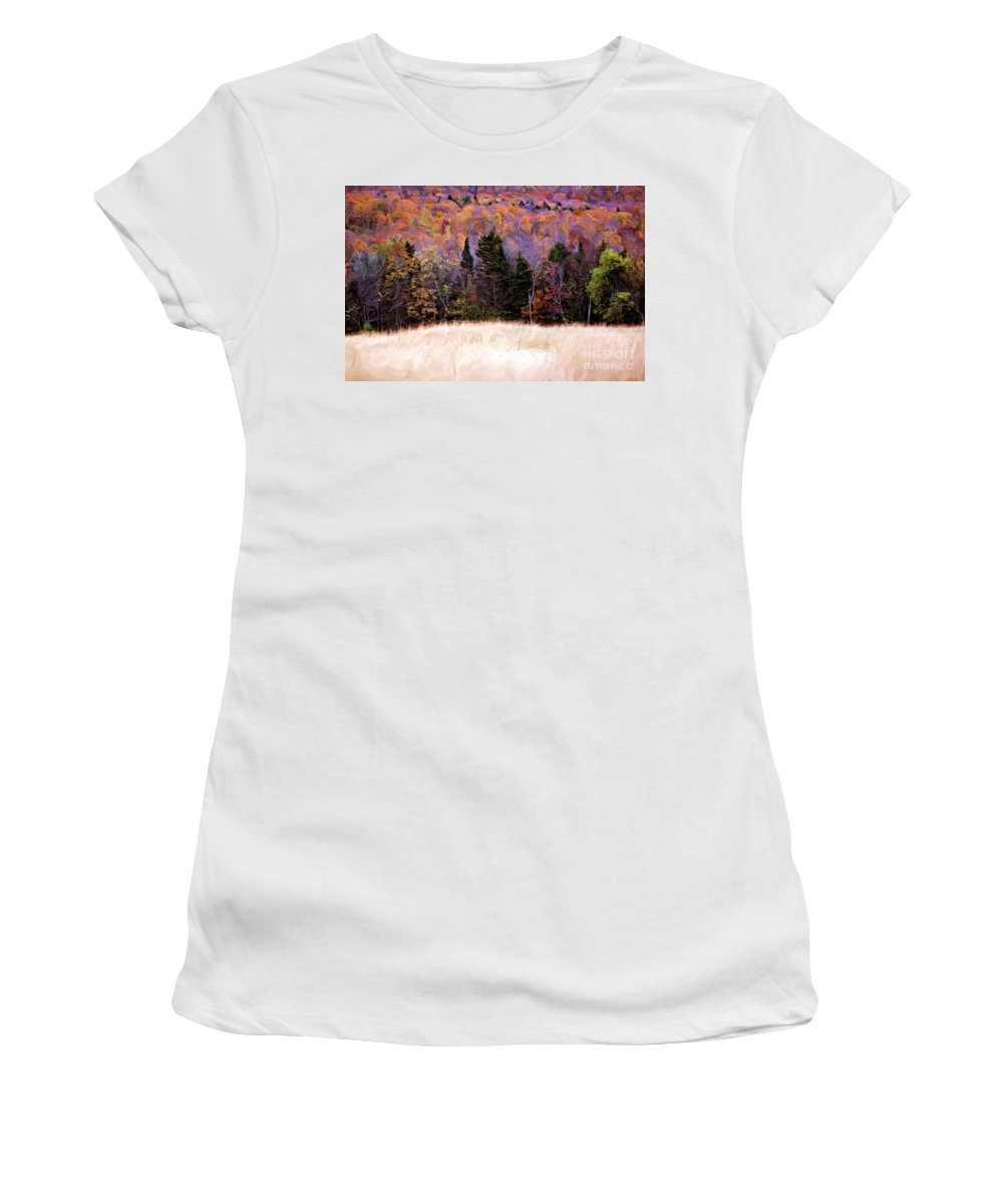 Painting Women's T-Shirt (Athletic Fit) featuring the photograph A Painting Autumn Field by Mike Nellums