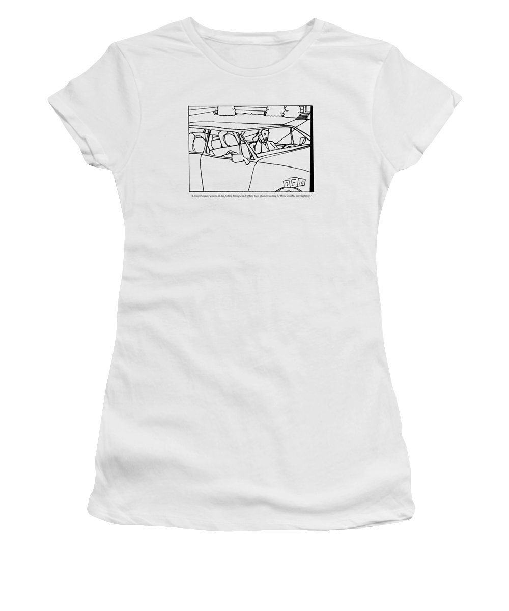 Middle Age Women's T-Shirt featuring the drawing A Parent Driving A Car by Bruce Eric Kaplan