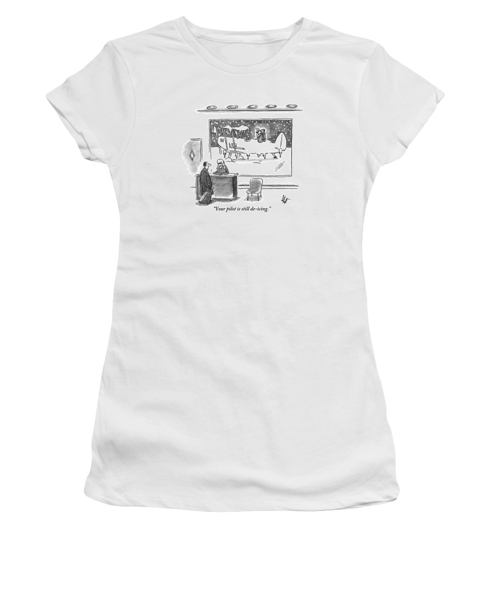 Pilots Women's T-Shirt featuring the drawing A Passenger Watches An Airplane In The Freezing by Frank Cotham