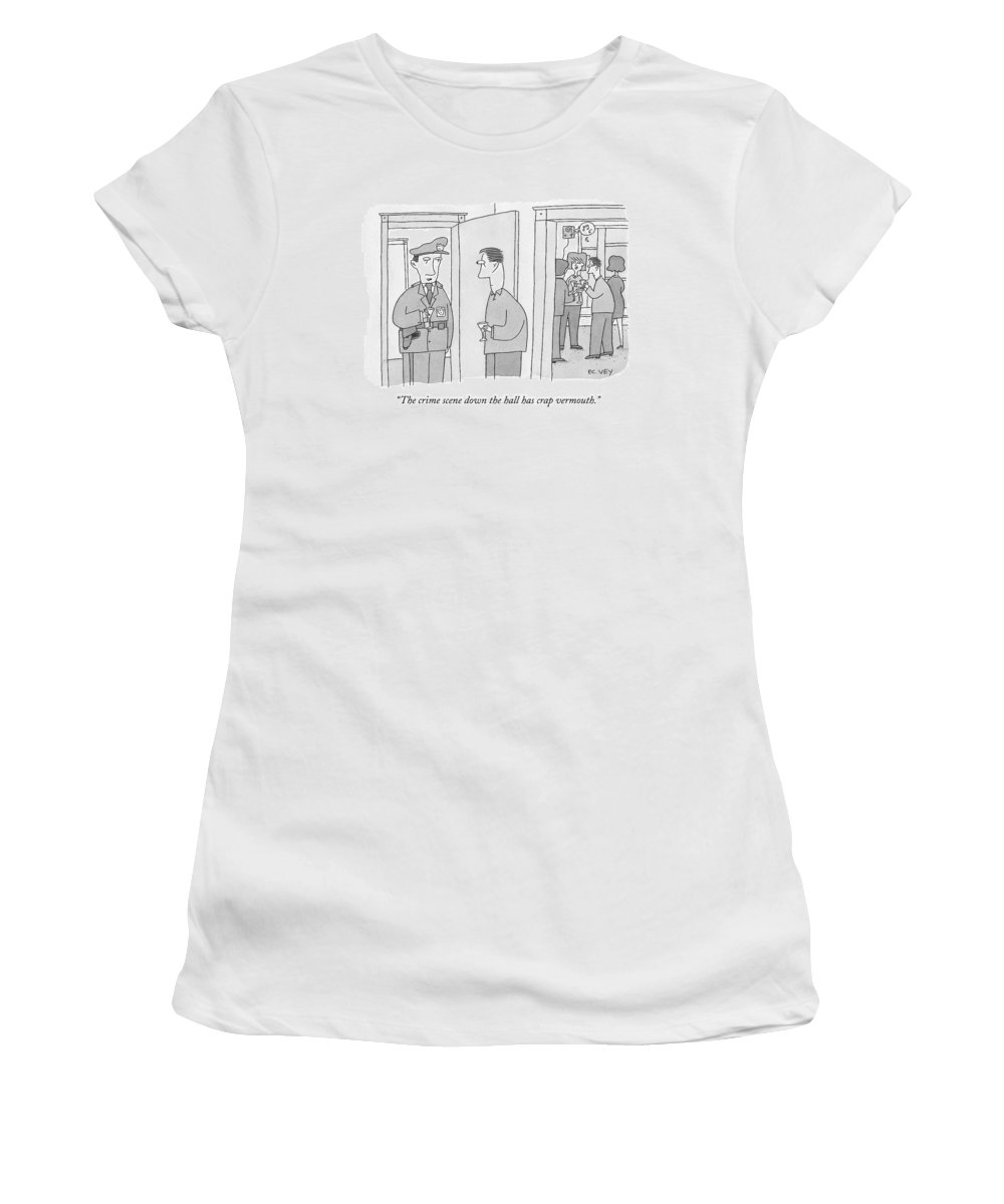 Police Women's T-Shirt featuring the drawing A Policeman With A Martini Glass Stands by Peter C. Vey
