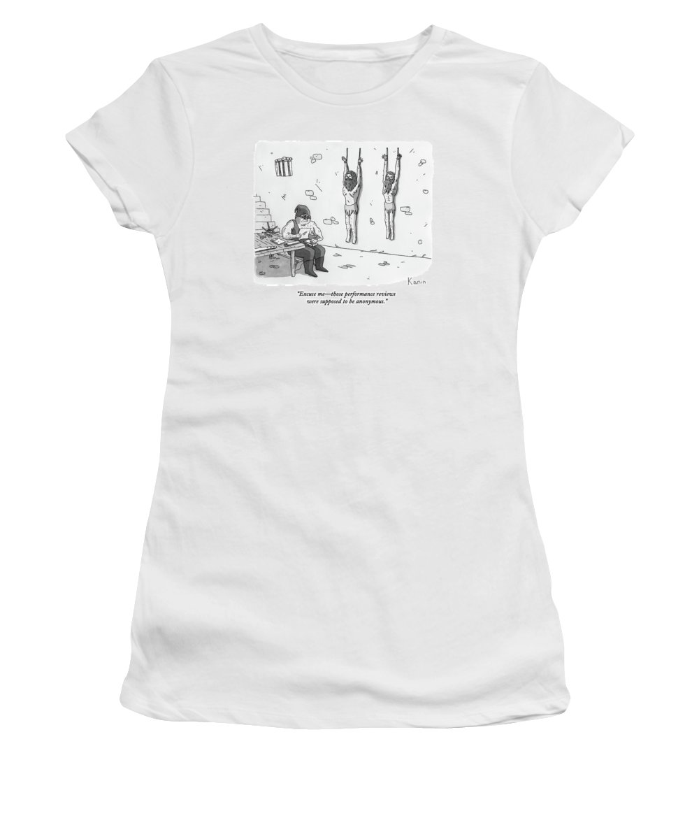 Prison Women's T-Shirt featuring the drawing A Prisoner In A Dungeon Speaks To A Torturer Who by Zachary Kanin
