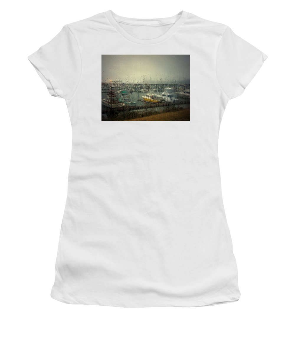 Marina Women's T-Shirt (Athletic Fit) featuring the photograph A Rainy Evening On The Port by Joyce Dickens