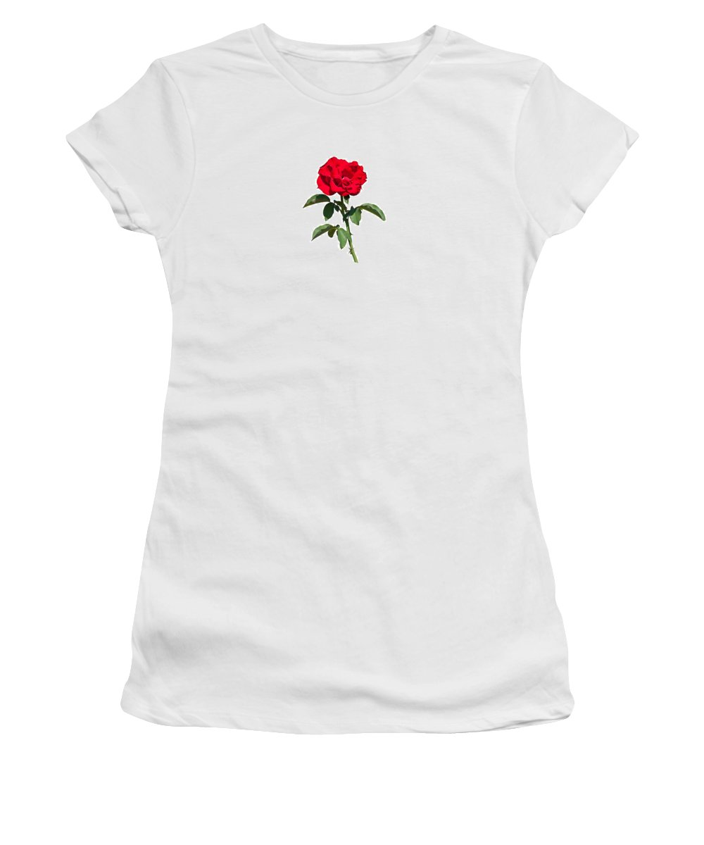 Flower Women's T-Shirt featuring the photograph A Red Rose On White by John M Bailey