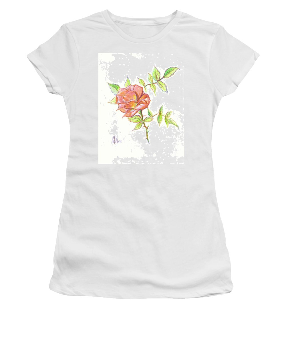 A Rose In Brigadoon Women's T-Shirt (Athletic Fit) featuring the drawing A Rose In Brigadoon by Kip DeVore