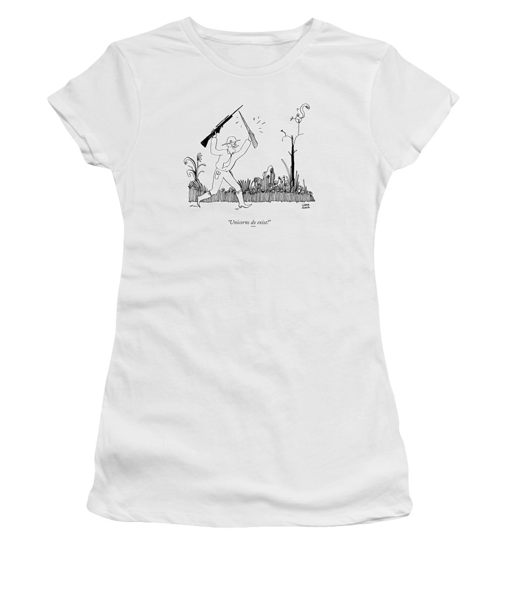 Hunter Women's T-Shirt featuring the drawing A Safari Hunter Runs Toward His Wife Holding by Liana Finck
