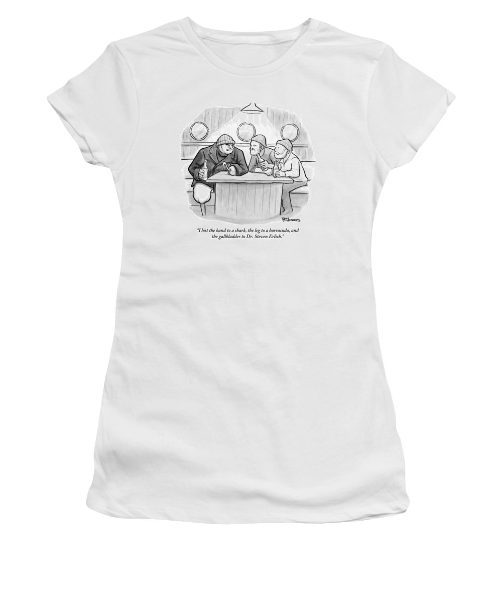Sailor Women's T-Shirt featuring the drawing A Sailor With A Hook by Benjamin Schwartz
