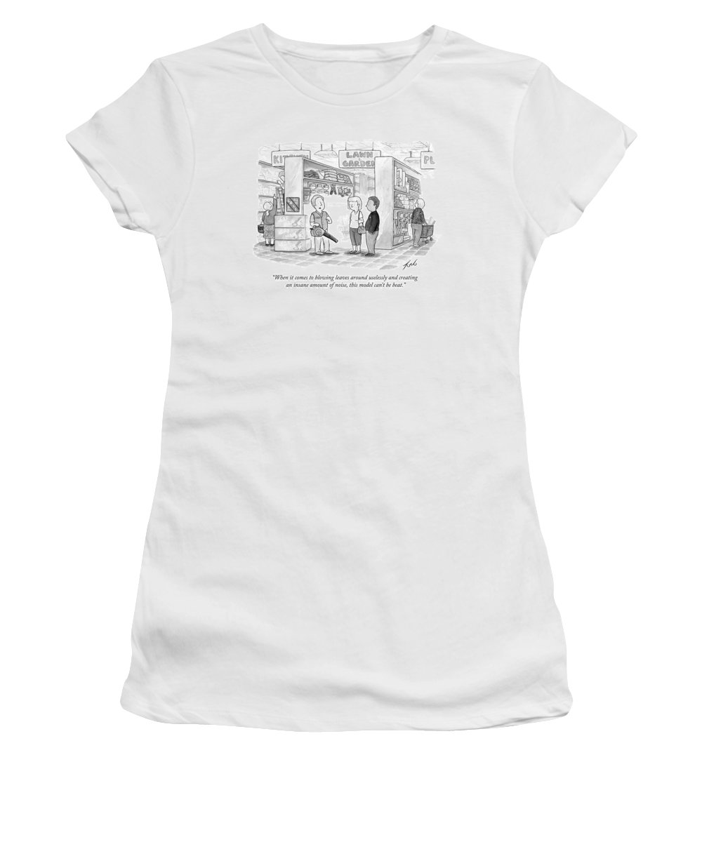 Leaves Women's T-Shirt featuring the drawing A Salesman Shows A Couple A Leaf Blower by Tom Toro