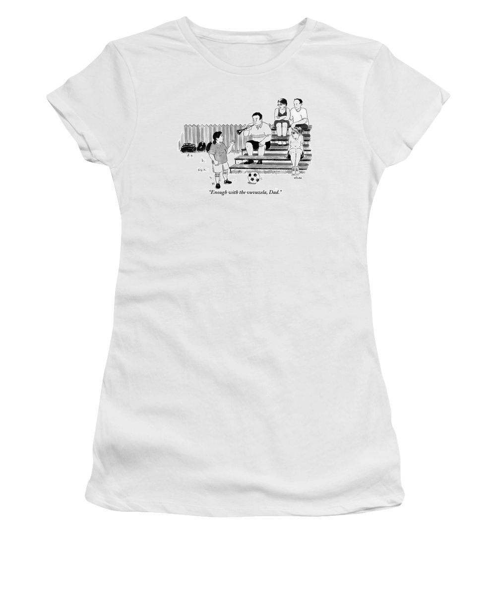 World Cup Women's T-Shirt featuring the drawing A Soccer-playing Little Girl Chastises Her Father by Emily Flake