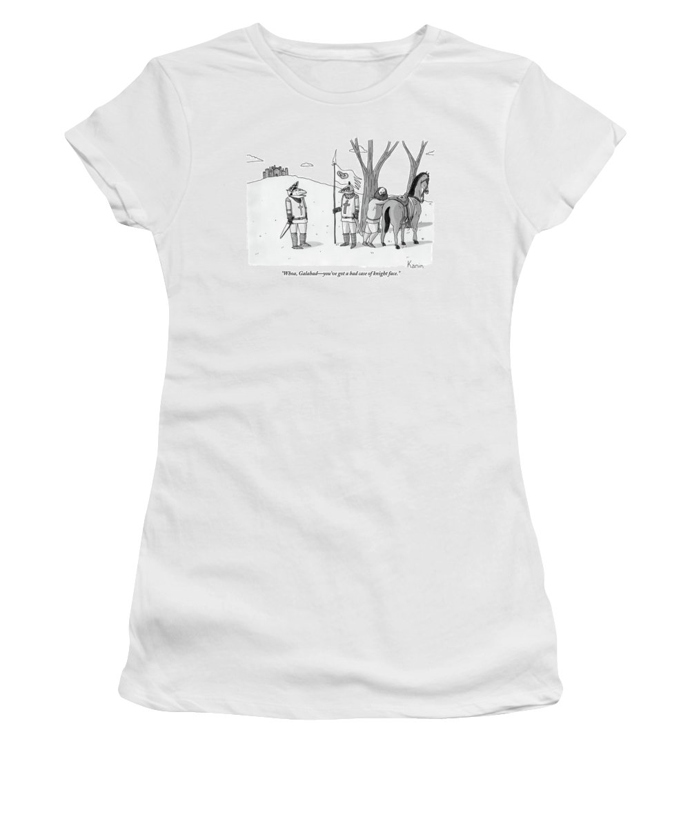 Medieval Women's T-Shirt featuring the drawing A Squire Looks At A Knight Whose Triangular Face by Zachary Kanin