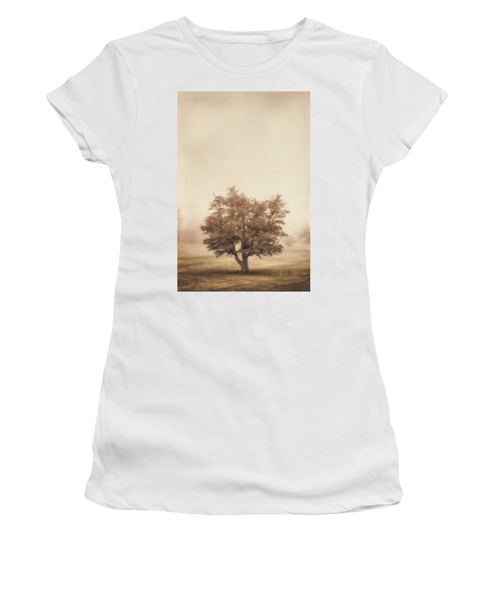 Tree Women's T-Shirt (Athletic Fit) featuring the photograph A Tree In The Fog by Scott Norris