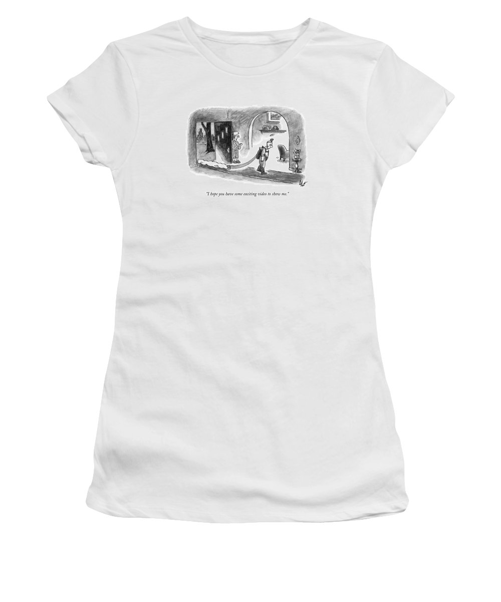Skydiving Women's T-Shirt featuring the drawing A Wife Speaks To Her Husband As He Walks by Frank Cotham