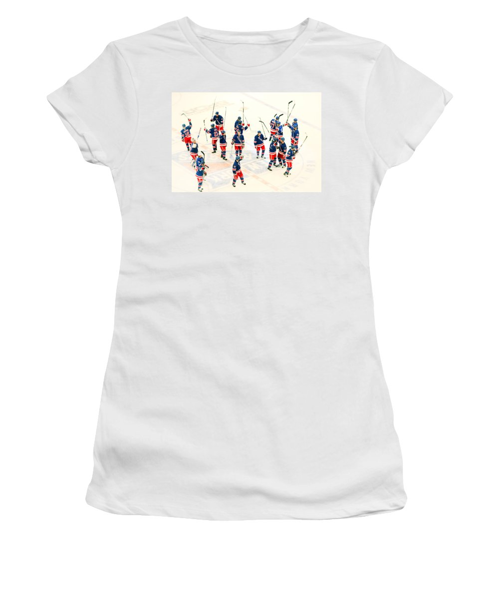 Hockey Women's T-Shirt (Athletic Fit) featuring the photograph A Winning Salute by Karol Livote