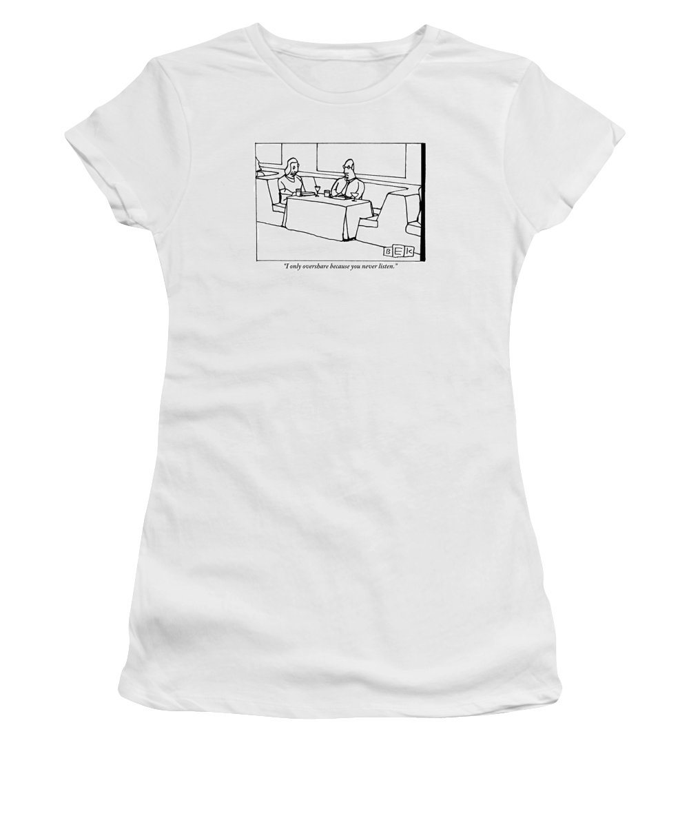 Man Women's T-Shirt featuring the drawing A Woman Chastising A Man At A Dinner Table by Bruce Eric Kaplan