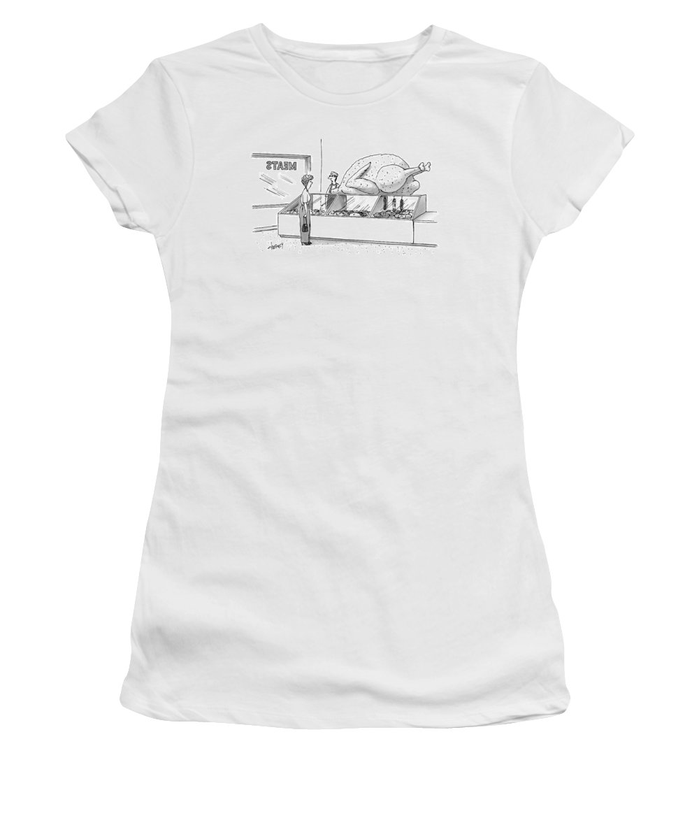 Cctk Women's T-Shirt featuring the drawing A Woman In A Butcher Shop Stares At A Gigantic by Tom Cheney